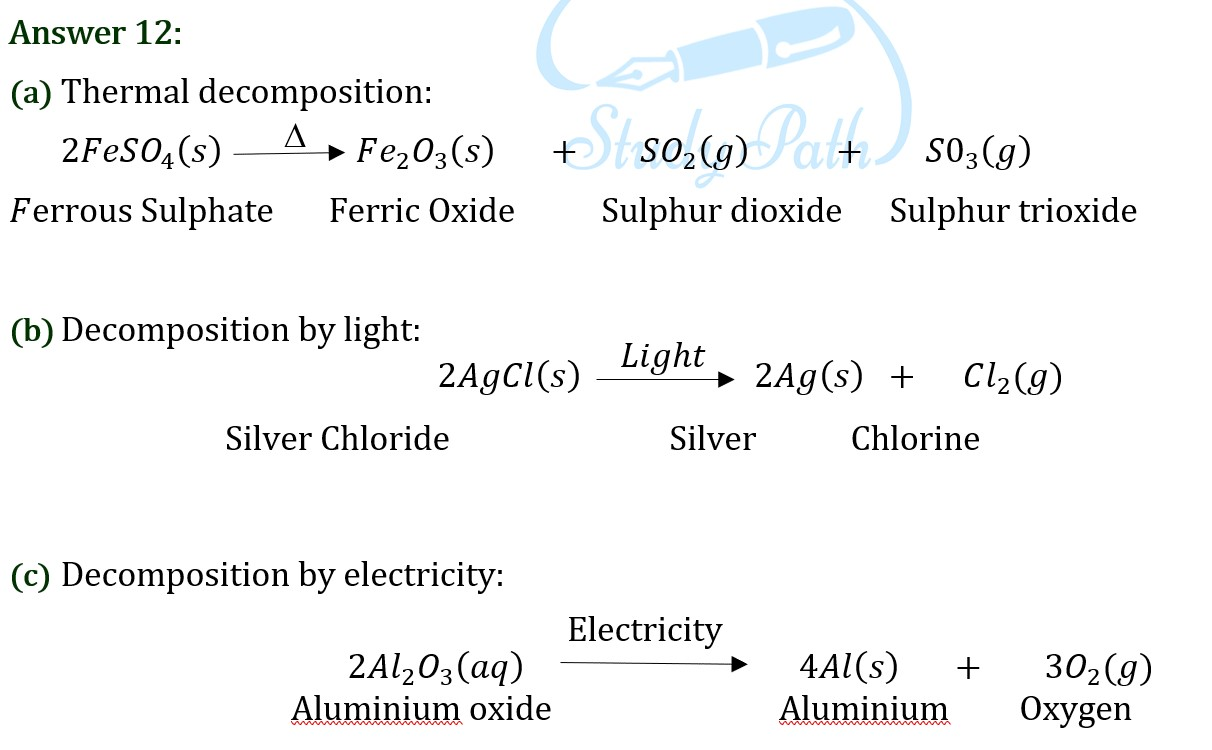 NCERT Solutions for Class 10 Science Chapter 1 image 8 exercise question 12
